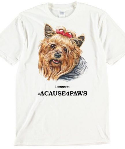 Yorkshire Terrier Bow Dog T-Shirt ACAUSE4PAWS